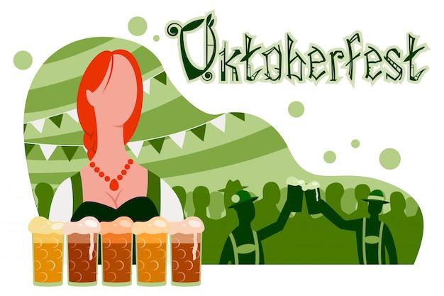 Cartaz de oktoberfest, banner com uma garota em um terno tradicional, copos de cerveja e uma festa com silhuetas de pessoas.