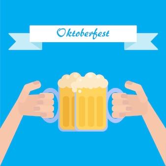 Cartaz de oktoberfest com cerveja na mão
