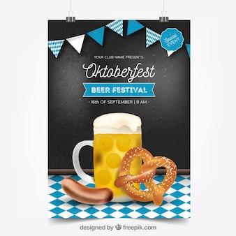 Cartaz de oktoberfest com cerveja, pretzel e salsicha
