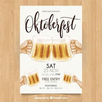 Cartaz de oktoberfest com cervejas pintadas à mão