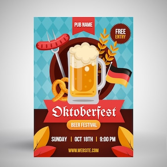 Cartaz de oktoberfest de design plano com cerveja e wurst