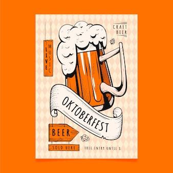 Cartaz de oktoberfest desenhado à mão criativa