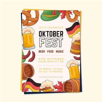 Cartaz de oktoberfest desenhado de mão com ilustrações