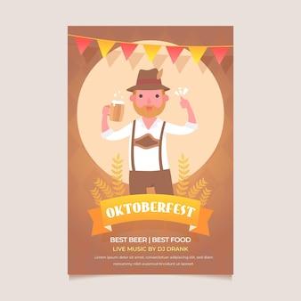 Cartaz de oktoberfest design plano com homem