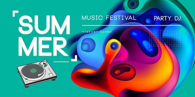 Cartaz de onda de verão fest música eletrônica.