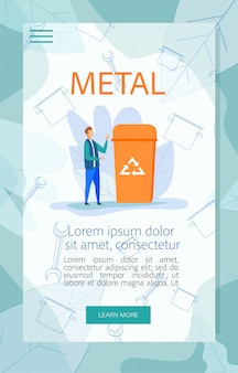 Cartaz de orientação para utilização de lixo metálico