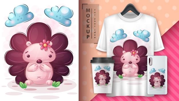 Cartaz de ouriço fofo e merchandising