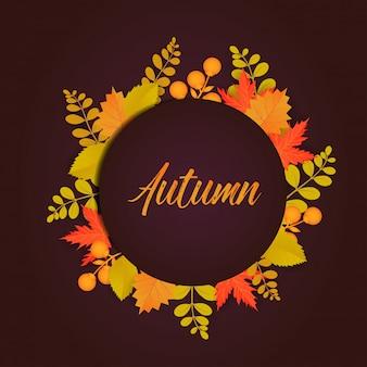 Cartaz de outono com folhas e elementos florais.