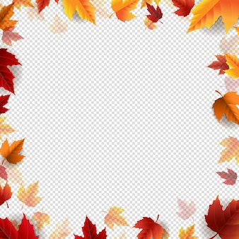 Cartaz de outono com fundo transparente de borda de folhas