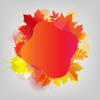 Cartaz de outono com mancha colorida e folha
