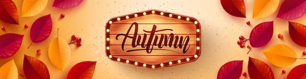 Cartaz de outono e modelo de banner com folhas coloridas de outono em fundo amarelo