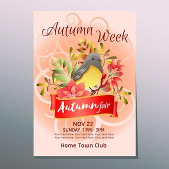 Cartaz de outono semana justa com mockingbird