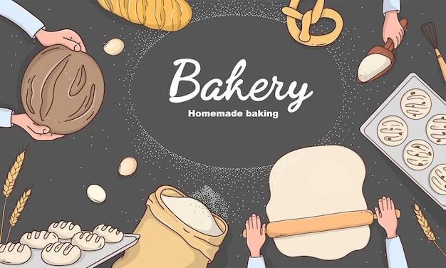 Cartaz de padaria com ingredientes de panificação de pão e um lugar para seu texto