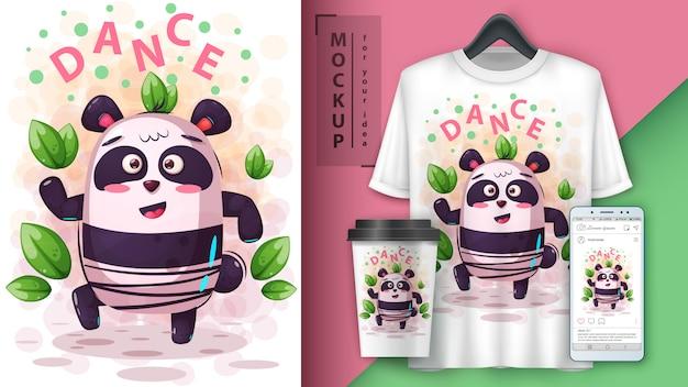 Cartaz de panda de música de dança e merchandising