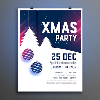 Cartaz de panfleto azul bonito de festa de natal