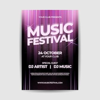 Cartaz de panfleto de festa de festival de música
