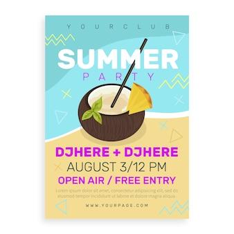 Cartaz de panfleto de verão design plano modelo