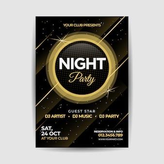 Cartaz de panfleto dourado de festa à noite de música