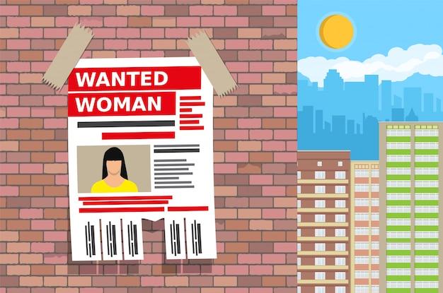 Cartaz de papel de pessoa procurada. falta anunciar