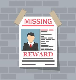 Cartaz de papel de procurado. falta anunciar