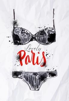 Cartaz de paris com aquarela lingerie preta