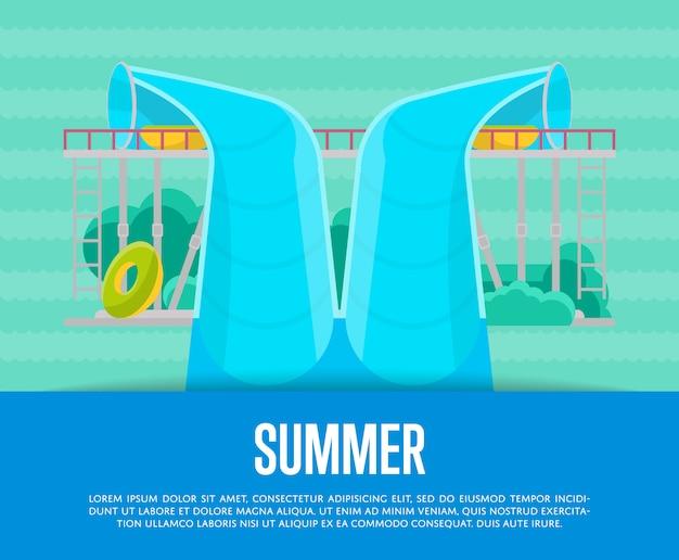 Cartaz de parque aquático de verão com tubo de água