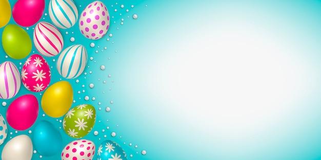 Cartaz de páscoa e modelo de banner com ovos de páscoa