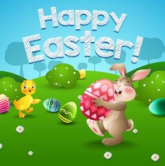 Cartaz de páscoa feliz com coelho de desenho animado