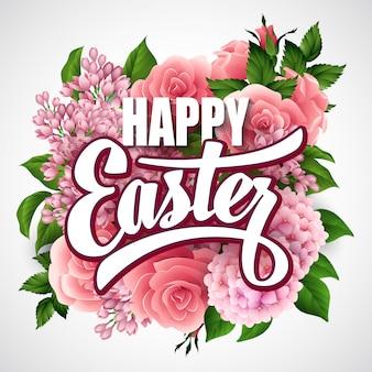 Cartaz de páscoa feliz com flores e letras