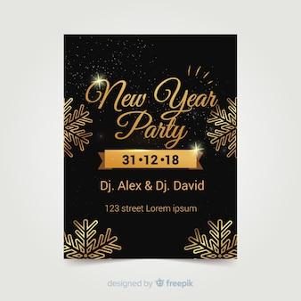 Cartaz de pastéis de ano novo de flocos de neve dourados