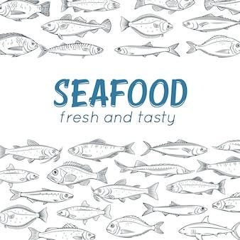 Cartaz de peixe desenhado à mão