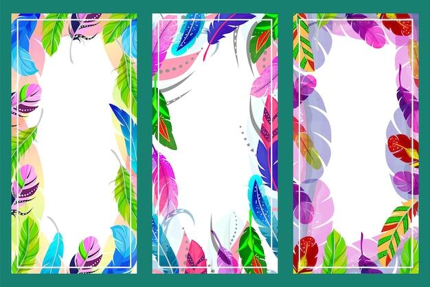 Cartaz de penas de cor com texto vazio lugar conceito cartão com design de moda plumagem plana ve ...