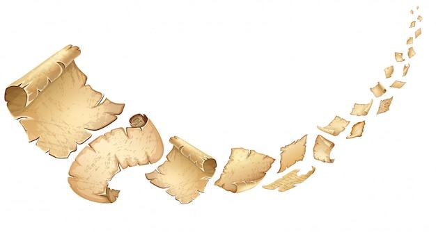 Cartaz de pergaminhos antigos a voar.