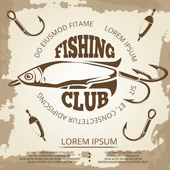 Cartaz de pesca vintage grunge