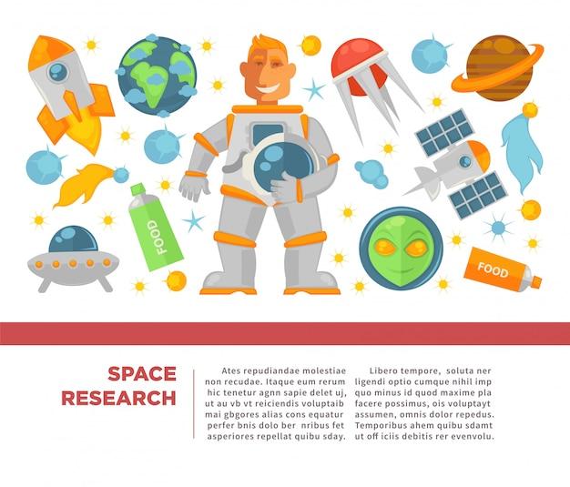 Cartaz de pesquisa e exploração espacial