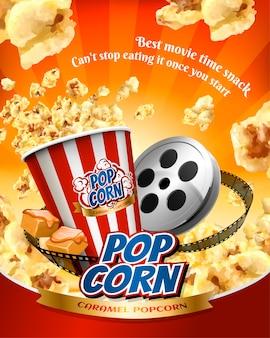 Cartaz de pipoca caramelo com grãos voadores e itens de cinema ilustrados