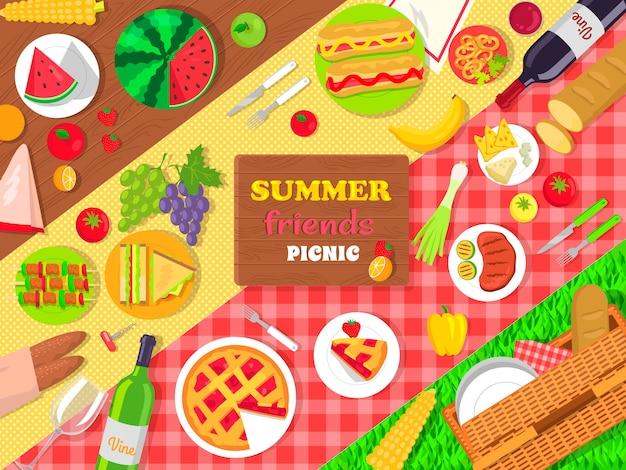Cartaz de piquenique de amigos de verão com comida deliciosa