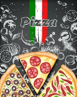 Cartaz de pizza em cores. ilustração de anúncios de pizza saborosa