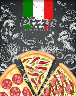 Cartaz de pizza em cores.
