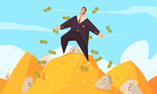 Cartaz de plana dos desenhos animados de homem rico com empresário gordo em meio a dólares voadores no topo da montagem de ouro