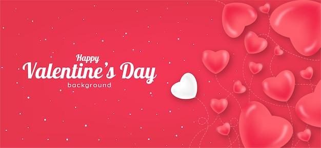 Cartaz de plano de fundo do dia dos namorados com corações vermelhos e rosa no feriado do amor