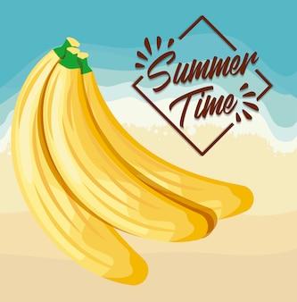 Cartaz de praia de verão com bananas