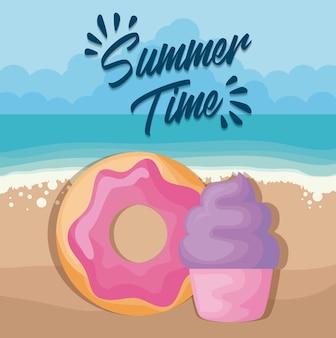 Cartaz de praia de verão com bolinho e donut
