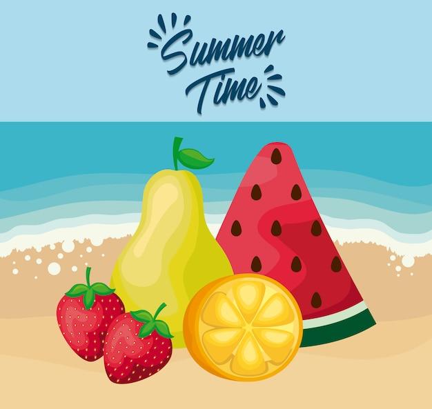 Cartaz de praia de verão com melancia e frutas