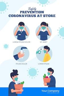 Cartaz de prevenção covid-19 para lojas