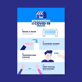 Cartaz de prevenção de coronavírus para tema de lojas