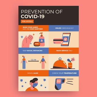 Cartaz de prevenção de coronavírus plano orgânico para hotéis