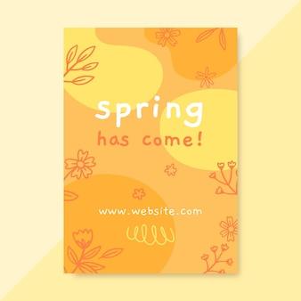 Cartaz de primavera monocromática doodle