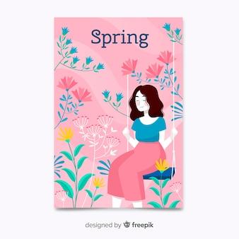 Cartaz de primavera rosa mão desenhada