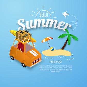 Cartaz de primavera verão, banner parque de estacionamento laranja na praia